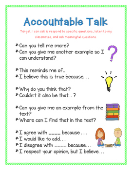 Accountable Talk - Anchor Chart - Classroom Discussions -