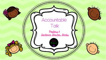 Accountable Talk Bulletin Board Posters & Sentence Starter Sticks