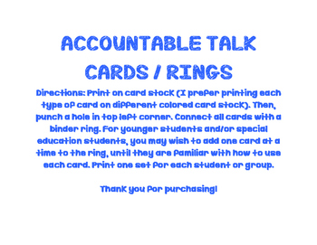 Accountable Talk Cards (Easy to put on a ring!)