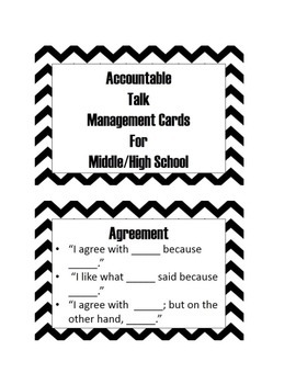 Accountable Talk Cards for Middle/High School