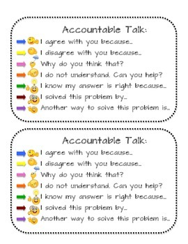 Accountable Talk Conversation Starter Cards