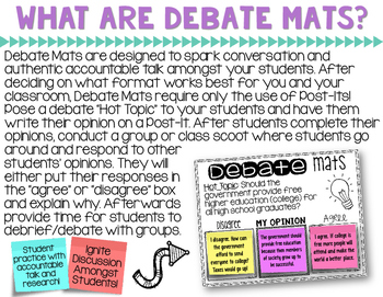 Accountable Talk Debate Mats Kid Related Topics CLASS DISCUSSION AND PRACTICE
