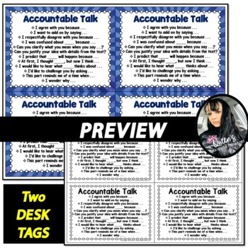 Accountable Talk Discussion Starter Sheet,  Note-Catcher Organizer, and Desk Tag