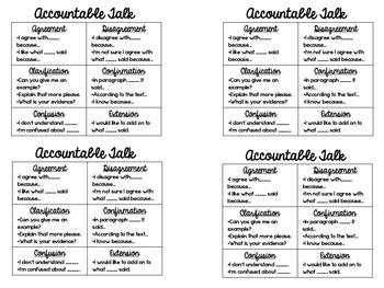 Accountable Talk Desk Tags; Mini Posters