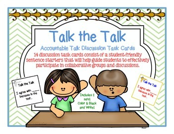 Accountable Talk Discussion Task Cards! Promote Listening & Speaking Skills!