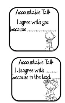 Accountable Talk Discussion Task Cards AND Self Assessment Bookmarks!