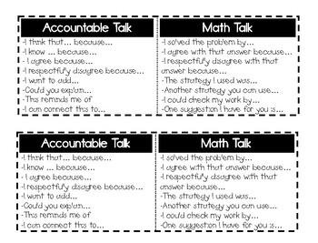 Accountable Talk + Math Talk Sentence Stems