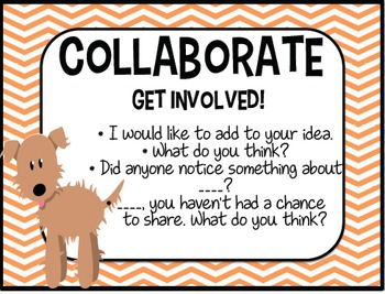 Accountable Talk - POSTERS - DOG THEME -Converstation starters INCLUDED!