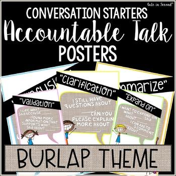 Accountable Talk Poster Set Burlap Theme