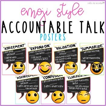 Accountable Talk Poster Set Emoji Theme