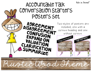 Accountable Talk Poster Set Rustic Wood Theme