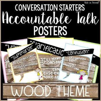 Accountable Talk Poster Set Rustic Wood Theme