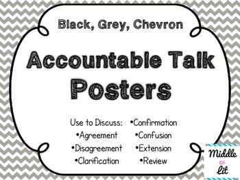 Accountable Talk Posters - Black, White, & Chevron