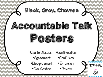 Accountable Talk Posters - Black, White, & Chevron