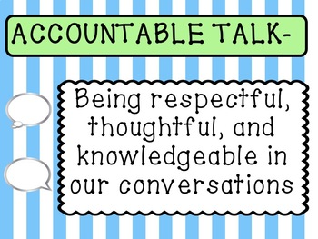 Accountable Talk Posters FULL Sheet- Blue & Green Pastel