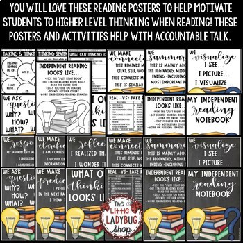 Independent Reading Posters for Higher Leveling Thinking & Reading Strategies