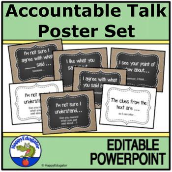 Accountable Talk Posters - Burlap and Chalkboard - EDITABLE