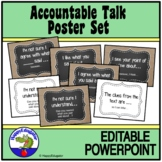Accountable Talk Posters - Burlap and Chalkboard - EDITABLE