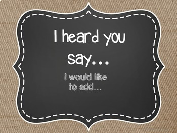 Accountable Talk Posters Burlap and Chalkboard EDITABLE Classroom Decor