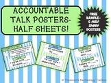 Accountable Talk Posters HALF Sheet FREE Sample- Blue & Gr