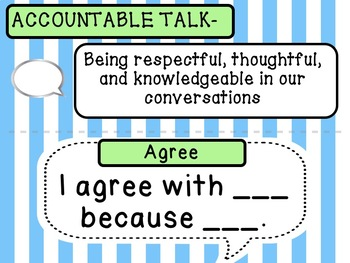 Accountable Talk Posters HALF Sheets- Blue & Green Pastel