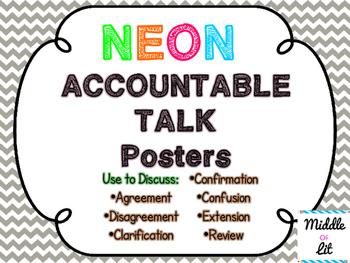 Accountable Talk Posters - Neon & Chevron