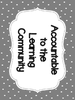 Accountable Talk Posters & Sentence Stems - Gray & White Polka Dots