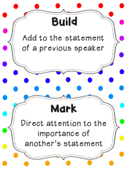 Accountable Talk Posters & Sentence Stems - Rainbow Dots (Printer Friendly)
