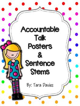 Accountable Talk Posters & Sentence Stems - Rainbow Dots (