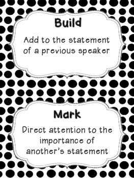 Accountable Talk Posters & Stentence Stems - Black & White Polka Dots