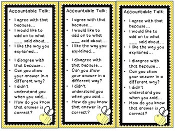Accountable Talk Posters and Bookmark
