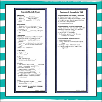 Accountable Talk Posters and Bookmarks