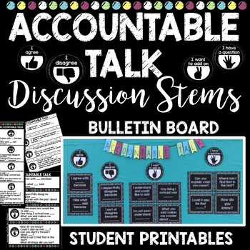 Accountable Talk Bulletin Board Posters, Desk Plates, Notebook Inserts