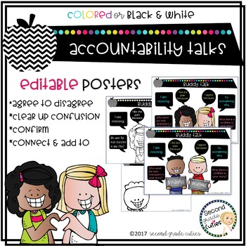 Accountable Talk Posters with Questions, Guidelines & Editable too