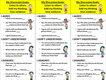 Accountable Talk Prompts and Posters 1st 2nd 3rd Grade