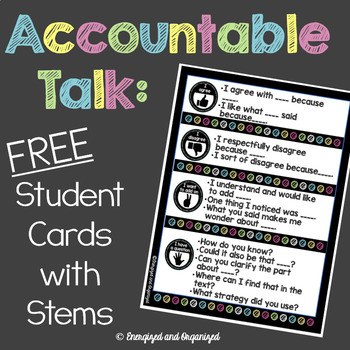 Accountable Talk Question and Sentence Stems Card- Freebie