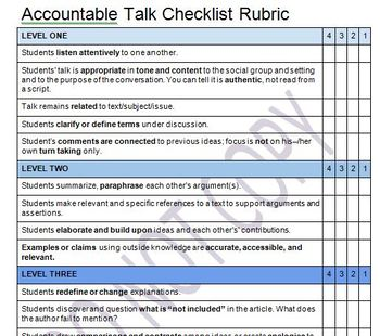 Accountable Talk Rubric for High School