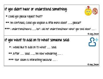 Accountable Talk Sentence Frames