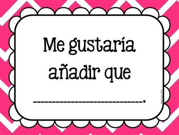 Accountable Talk Sentence Frames in Spanish