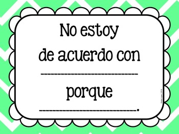 Accountable Talk Sentence Frames in Spanish