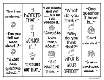 Accountable Talk Sentence Stem Bookmarks