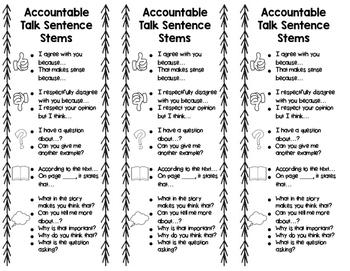 Accountable Talk Sentence Stem Bookmarks
