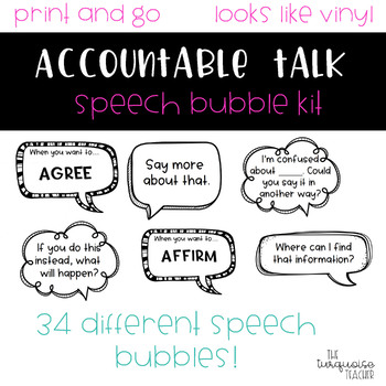 Accountable Talk Sentence Stem Speech Bubble Posters