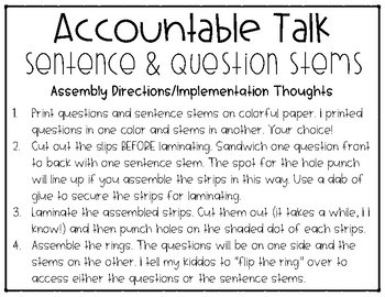 Accountable Talk Sentence Stems and Discussion Questions for Math