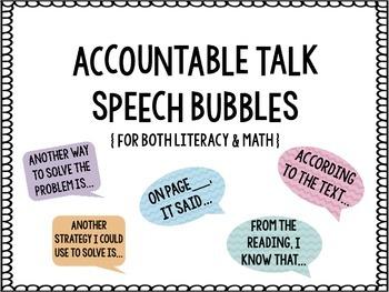 Accountable Talk Speech Bubbles {Math & Reading}