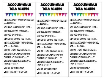 Accountable Talk Stem Bookmarks for the Language Arts Classroom!