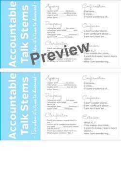 Accountable Talk Stem Desk Cards