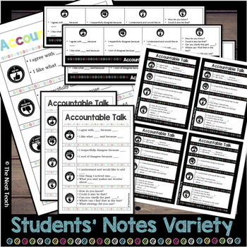 Accountable Talk Stems: Posters, Bookmarks, Desk Plates, Bulletin Board