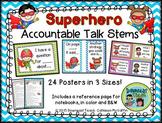Accountable Talk Stems Posters: Superhero Theme