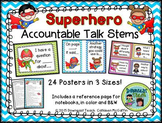 Accountable Talk Stems Posters: Superhero Theme